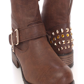 Brown Studded Ankle Combat Boots Faux Leather