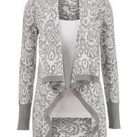 Grey and white baroque pattern cardigan