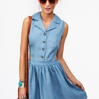 Chambray Cutout Dress
