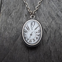 Clockpunk Steampunk Reversible Watch Movement Pendant Necklace, Stainless Steel Watch Movement  on Clock Face Pendant  on Cable Link Chain