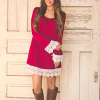 Crochet Sleeve Tunic- Wine