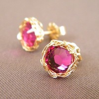 July Birthstone Ruby Post Earrings Crochet Gold Filled by galit