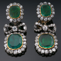 Antique Colombian Emerald and Diamond Earrings