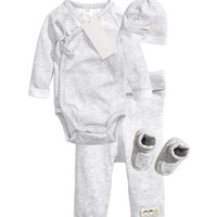 H&M - 4-piece Set - Light gray melange - Kids