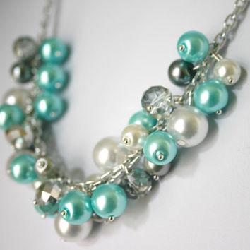 Tiffany Blue + Gray Pearl Cluster Necklace - Handmade (customizable!) Women's Necklace