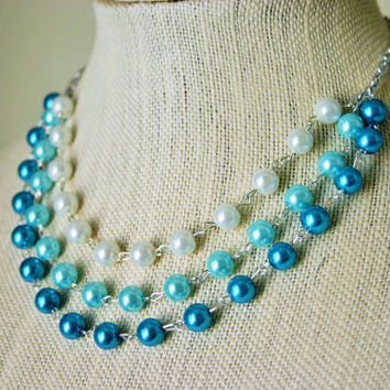 White, Tiffany Blue, & Turquoise Ombre Necklace - Pearl Jewelry - Bridesmaid Bridal Necklaces