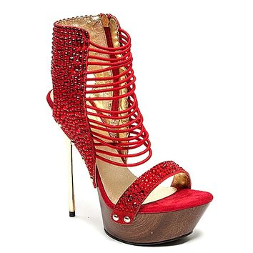 Samba Open Toe Platform Jeweled Pump Stiletto Heel