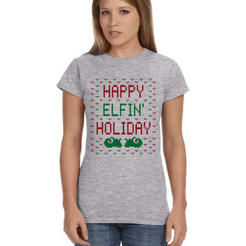 Grey Ladies Junior Fit Tshirt Happy Elfin' Holiday Ugly Christmas Gray Shirt