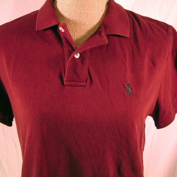 Women 39 s ralph lauren polo shirt burgundy from ebay ebay Burgundy polo shirt boys