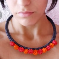 Crocheted Dinkdots Statement Necklace-100%cotton