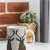 Sharon Turner Poinsettia Deer Coffee Mug - 12 oz
