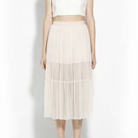 Sheer Midi Skirt (Nude)