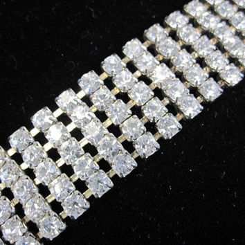 Sparkling 5 row Rhinestone Bracelet - 1940s- early 1950's - shipping included