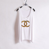 Leopard Just Chanel - Women Tank Top - White - Sides Straight