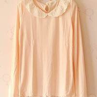 Women High Quality Lace Embroidery Baby Neck Full Cotton Pink T-Shirt One Size@II1022p $7.99 only in eFexcity.com.