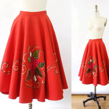 VINTAGE 1950s Poodle Skirt Red Extra Small