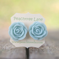 Large Baby Blue Rose Flower Stud Ea.. on Luulla