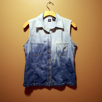 Ombre bleached denim jean Vest ONE OF A KIND