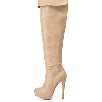 High Heel Over-the-Knee Boots by Charlotte Russe - Nude