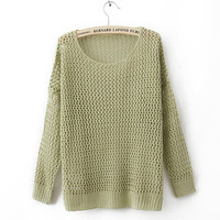 Green Hollow Kint Sweater$38.00