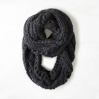 AEO Women's Cable & Open Knit Loop Scarf (Charcoal)