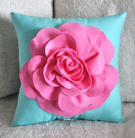 Throw Pillow Pink Rose on Bright Aqua Pillow 14 x 14