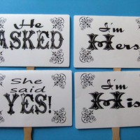 He Asked She Said Yes Double Sided Photo Props  by FunnySideofLife