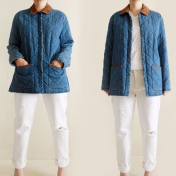 Vintage 90s Quilted Denim Outerwear Coat size S/M from R+E