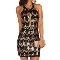 Black Sassy Scallop Sequin Dress