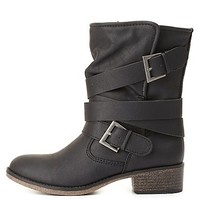 Belt-Wrapped Shearling-Lined Moto Boots by Charlotte Russe - Black