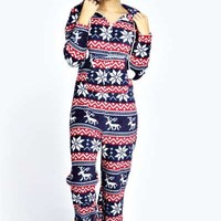 Louisa Large Fairisle Pom Pom Trim Onesuit
