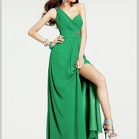 Buy Dazzling Hunter Green Split Side One-shoulder Chiffon Bridesmaid Dress under 200-SinoAnt.com