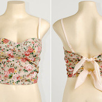 A4 Floral Bow Tie Back Crop Padded Cup Bustier Bra Corset Bralet Tank Top S