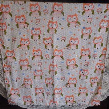 Cute Lightweight Baby Cot/Crib/Stroller Blanket Owls Minky Backing