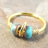 Turquoise and Gold Hoop Cartilage Hoop 18 or 20 Gauge Boho Tragus Helix Piercing