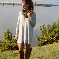 Time Well Wasted Heather Grey Long Sleeve Dress