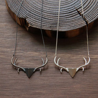 Oxidized Sterling Silver Deer head Sterling Silver by 141ATELIER