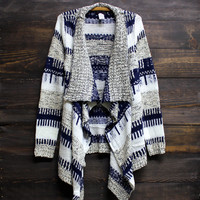 all that striped knit cardigan knit cozy oversized comfy thick sweater white navy grey taupe casual amazing mod trendy boho bohemian