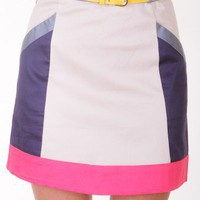NUDE COLORBLOCK TAILORED BELTED SKIRT @ KiwiLook fashion