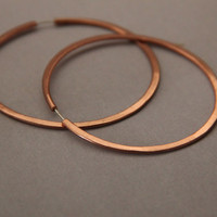 Copper Hoop Earrings - 2 1/2 inch hoops