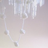 Crochet garland, home decor, snow balls, holiday decoration in white, Christmas