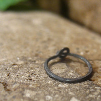 Little Hoop Earrings Oxidized Sterling Silver Hammered 10mm SINGLE Itty Bitty Hoops Collection