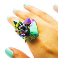 ON SALE - Titanium Quartz Rainbow Druzy Ring Crystal Stone Aura Cluster