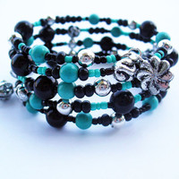 FREE SHIPPING  Turquoise Stack Bracelet,Handmade Jewelry,Memory wire bracelet