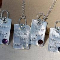 To Thine Own Self Be True. Shakespeare Necklace. 6MM stones. Sterling silver. Shakespeare Collection. choose Stone.Hand stamped.Poem. Quote.