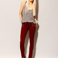 Burgundy double zip skinny jeans [Sel3945] - $68 : Pixie Market, Fashion-Super-Market
