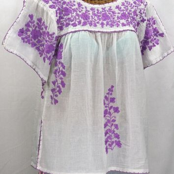 """La Lijera"" Embroidered Peasant Blouse Mexican Style -White + Bright Purple"