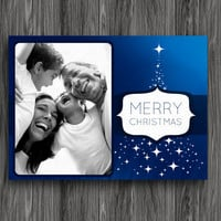 Printable Christmas Card - Blue Stars