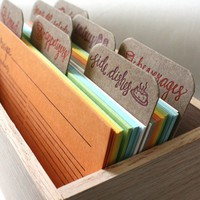 Letterpress Recipe Cards and Recipe Box by 1canoe2 on Etsy