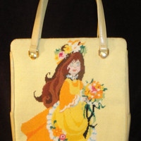 Vintage Southern Belle Needlepoint Purse Set Free Shipping